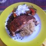 Läufergericht Blogparade – Lachs auf Quinoa-Belugalinsenbett mit provencialischen Gemüse