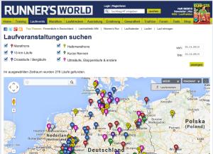Runnersworld Laufveranstaltungen Karte