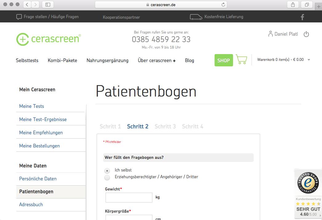 Patientenbogen, Test, Cerascreen, Webportal, Anamnese