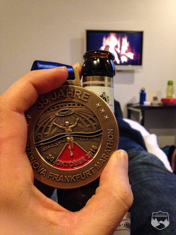 Medaille, Frankfurt Marathon, Motel One, Bier,